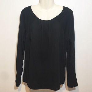 A.N.A Women's Black Blouse Long Sleeve Top Sz L